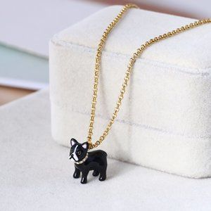 Kate Spade Black Bulldog Necklace